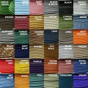 ROUND-2-Core-Braided-Fabric-Cable-Lighting-Lamp-Flex-Vintage-Choice-of-Colours