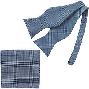 New-in-box-formal-men-039-s-Self-tied-Bow-Tie-amp-Hankie-Square-Checker-Blue-wedding