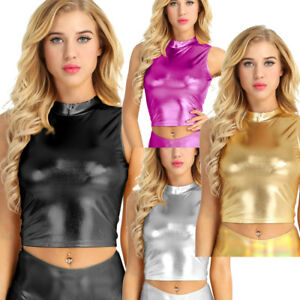63bcfd4bd21b5 UK Women s Leather Casual Tank Tops Vest Crop Top T-shirt Blouse ...
