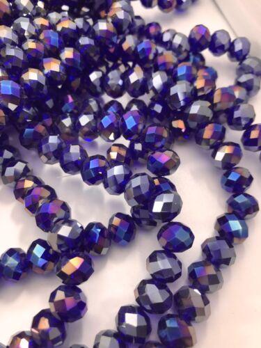Dark Royal Blue~Rainbow round Glass Spacer Beads 8 X 6 X 1mm ~1 Strand 70 Beads