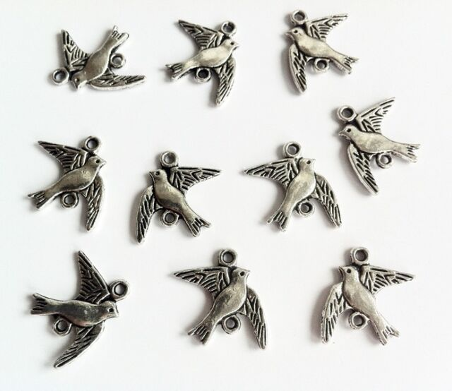 5x Vögel Anhänger antiksilber 14 x 16 mm Basteln Schmuck DIY Neu Zinklegierung