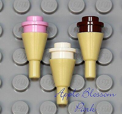 Lego Minifig Ice Cream Cone x 1 Tan with Bright Pink Swirl