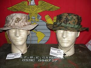 2 NEW USMC MARPAT Field Cover Boonie Hats Woodland   Desert Sekri ... a92550dae753