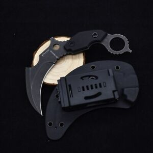 D2 Tactical Survival Karambit Knife Fixed Claw Blade Combat Knives W/Sheath