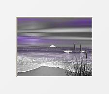 Coastal Ocean Beach Home Decor, Purple Gray Bathroom Bedroom Wall Art Picture