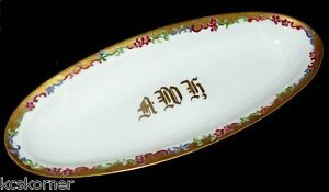 Royal-Austria-Antique-O-amp-EG-Hand-Painted-Floral-Celery-Dish-Tray-Signed-and-Dated