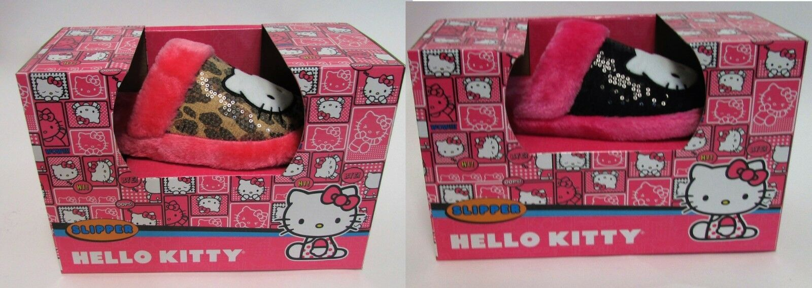 Hello Kitty Sanrio Sequin Slippers Pink Black, Pink Animal Print NIB Sz 5/6, 7/8