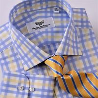 Blue Men's Clothing Business, Formal Dress Shirt Yellow Plaids & Checks Fashion