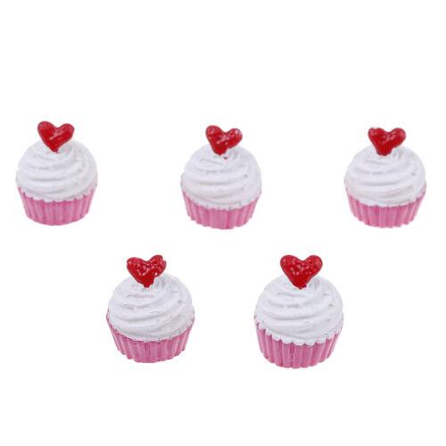 5Pcs Dolls miniature pretend toy mini play food heart love cake for kids toy/_WK