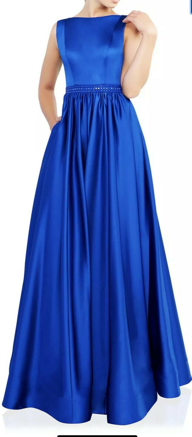 Mac Duggal Boat Neck Sleeveless Pleated Satin Gown Royal Blue Size 0