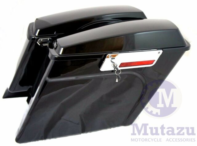 Mutazu Complete assembled Extended stretched Hard Saddle bags Fit Harley Touring