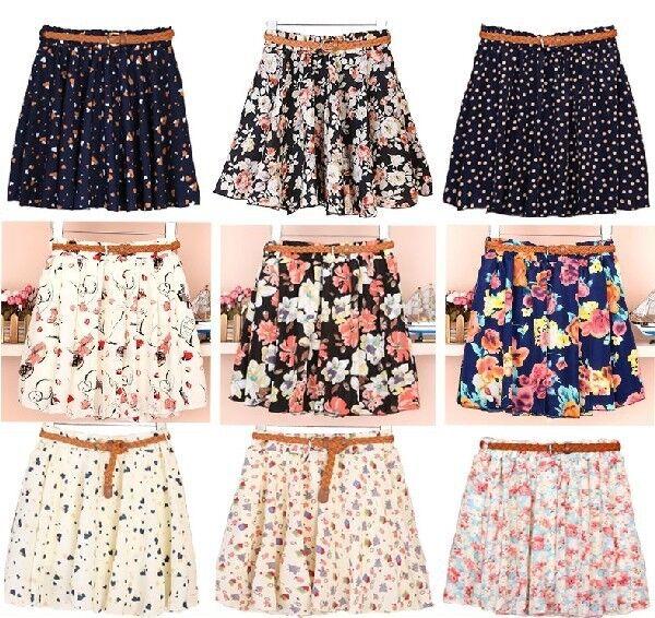 Blouse Retro High Waist Pleated Chiffon Printing Sheer Short Mini Skirt Dress