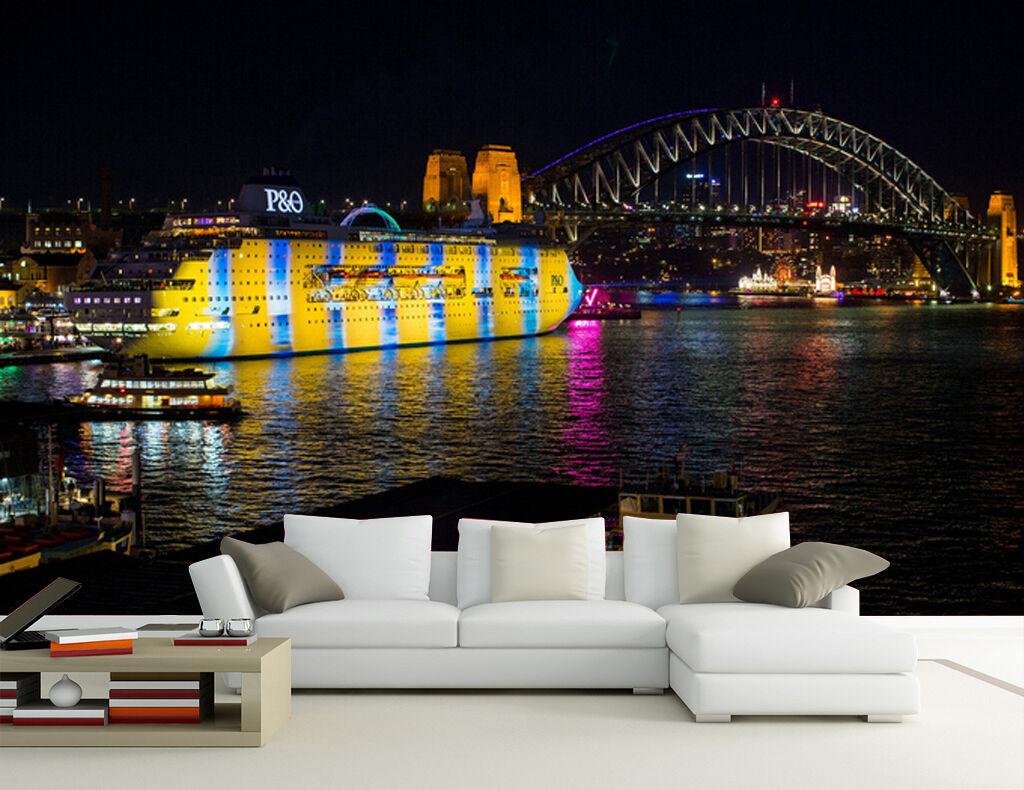 3D Steamship Bunte Lichter Fototapeten Wandbild Fototapete Bild Tapete Familie