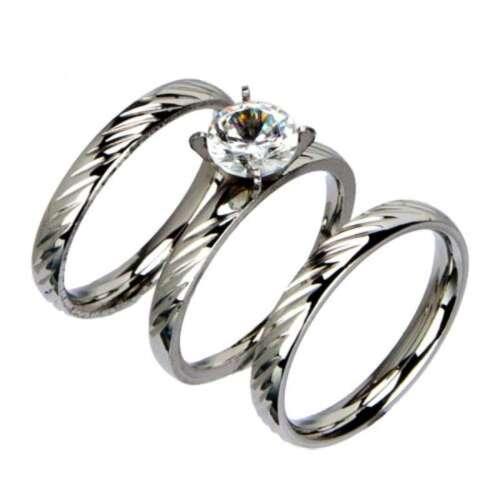 Ring-Set mit Stein Silber Nr Edelstahl 3 tlg Ringe 6  Partner