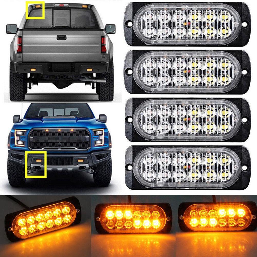4Pcs AMBER 12 LED Strobe Light Bar Truck Hazard Beacon Flash Warn Emergency  Lamp