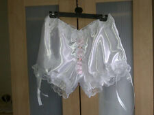 *NEW DESIGN* WHITE DOUBLE LAYER SATIN LACY BRIDAL GRANNY PANTS SISSY CD TV