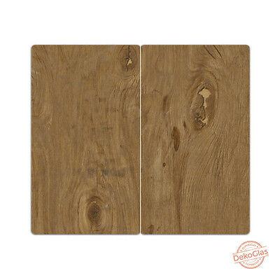 "DEKOGLAS Herdabdeckplatten /""Holz-Textur/"" 60x52 Glas Ceranfeld-Abdeckung Herd Set"