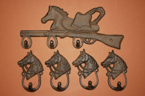 (5)pcs,Horse on rifle, wall hook, 4,looped horsehead wall hooks,bedroom decor