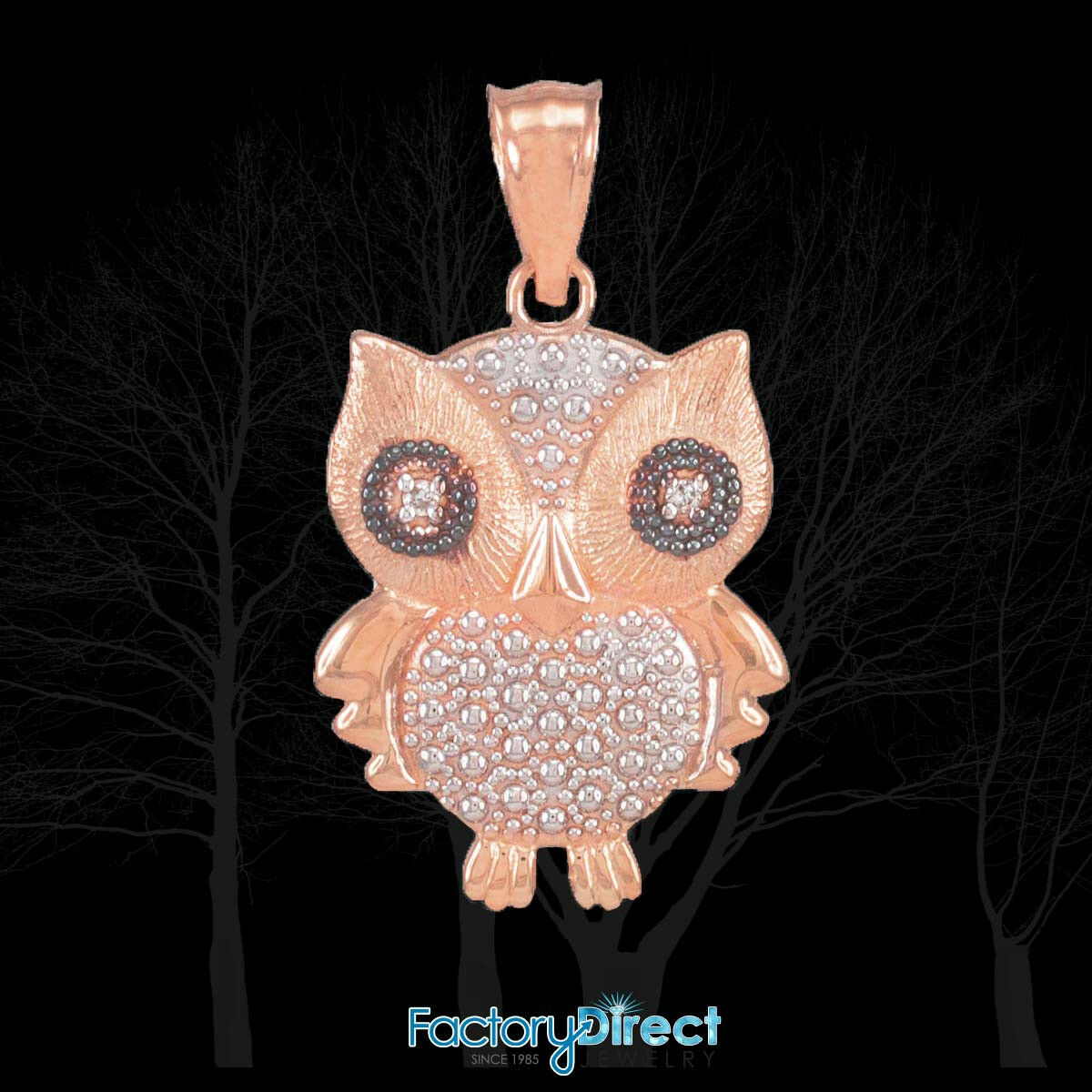 Two-Tone pink gold Owl Pendant with Diamonds