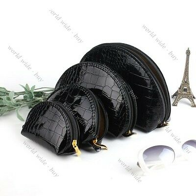 New Set of 4 Snake Skin Cosmetic Makeup Beauty Case Purse Toiletry Bag 9 Color