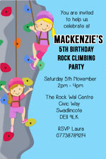 Rock Climbing Adventure Birthday Party Invites envs B129 Personalised Wall