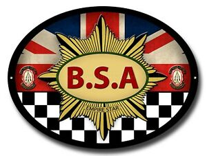 BSA EMPIRE STAR OVAL METAL SIGN.OFFICIALLY LICENSED B.S.A PRODUCT. &™ BSA
