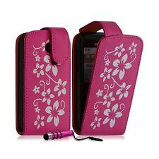 Housse coque etui pour Samsung Chat 335 S3350 motif fleurs couleur rose fuschia