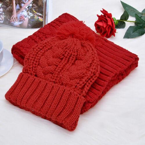 2Pcs//3Pcs Women Winter Warm Scarf Hat Set Solid Pompoms Knitted Soft Cap Scarves