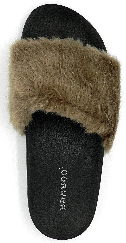 Women/'s BAMBOO New Slip On Flat Rubber Slider Mules Fur Slipper Sandal Shoe 5-10