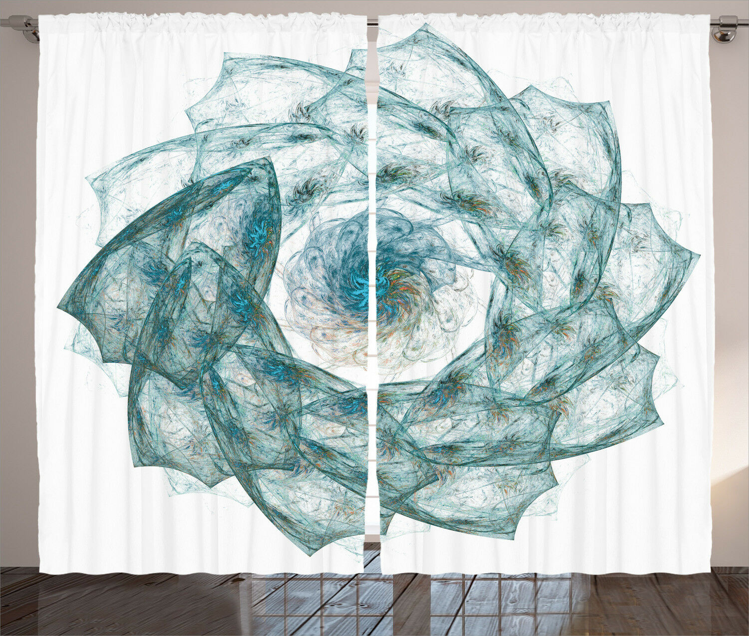 Teal Curtains Exquisite Flower Shaped Window Drapes 2 Panel Set 108x84 Inches