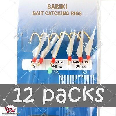10pks Size 2 Piscatore Sabiki Gold 6-hook Mylar Fish Skin Lure Red Head Rig #2