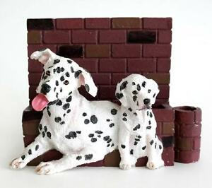 Business card holder in shape of 2 carved Dalmatians with bricks wall... Lot 21D