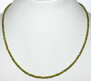 Necklace-Strand-925-Sterling-Silver-Green-Zircon-3-mm-Round-Faceted-Beads-GF2212