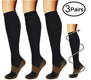 Best-Graduated-Compression-Socks-1-3-Pairs-Black-S-XXL-15-20mmHg-Men-039-s-Women-039-s