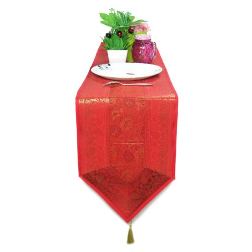 Red Table Runner Dining Table Decor Brocade Runner for Wedding Party Tablecloth