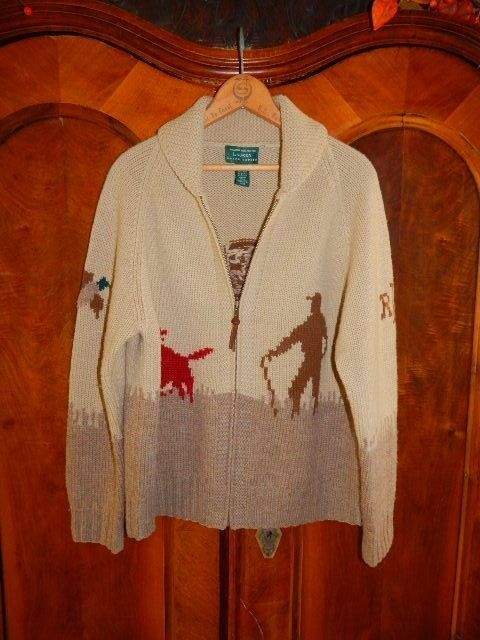 RALPH LAUREN......Hand Knit Hunting Scene Zipper Cardigan Wool Sweater M