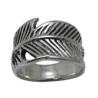 925 Sterling Silver Wide Leaf Wrap Around Band Ring