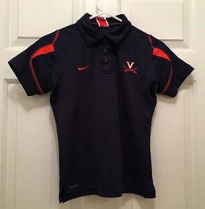 Virginia UVA Cavaliers Women's Rowing Team Issued Nike FitDry Blue Polo XS