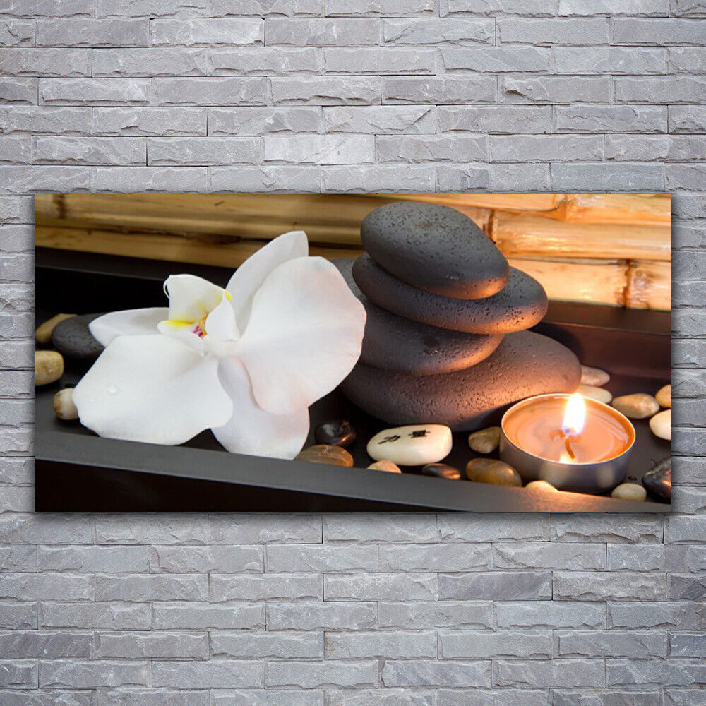 Impression sur verre Wall Art 120x60 Photo Image Fleur Pierres bougie art