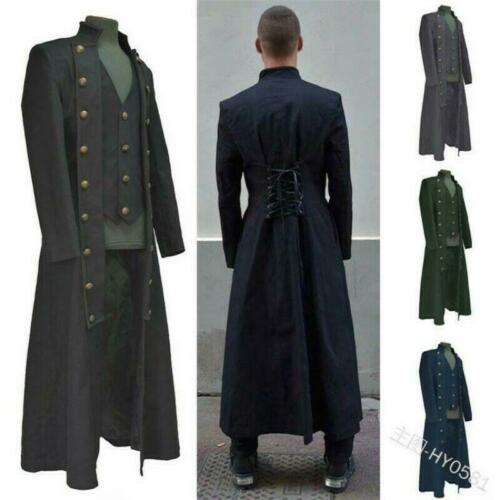 Victorian Men Military Trench Coat Gothic Steampunk Carnival Windbreaker GY00