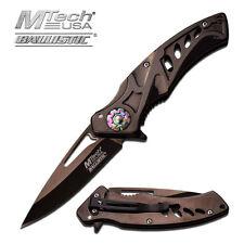 "MTech USA SPRING ASSISTED Knife Folding Titanium Coating 4.5"" CLOSED MT-A917BK"