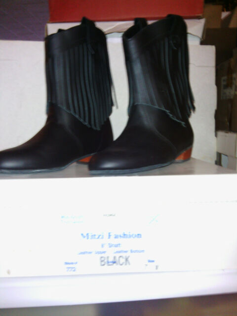 MITZI FASHION BOOT, BLACK, lady's 8-1/2 wide, WITH FRINGE, new in box