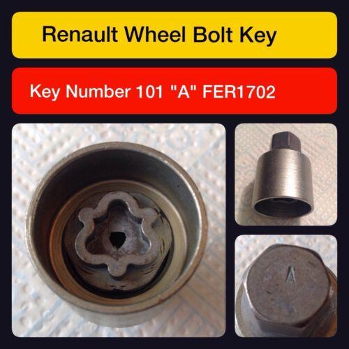 RENAULT di bloccaggio ruota dado//Master Key CODE 101 lettera A