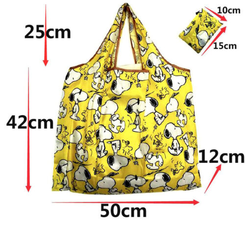 Snoopy Foldable Shopping Nylon Bag ~ Yellow