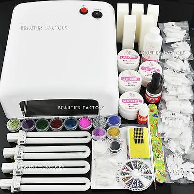 36W White Color UV Gel Nail Curing Dryer Lamp Light & UV Gel Nails Art Kit #252