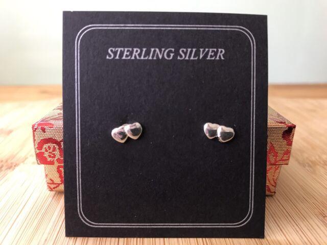 Sterling Silver Double Two Heart Earrings