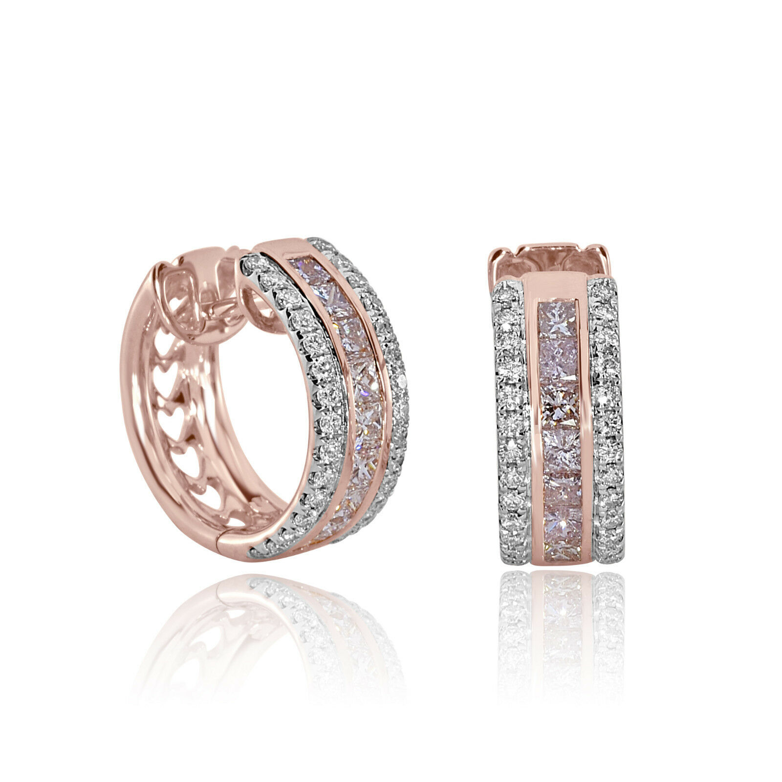 Real Fine 2.20ct Fancy Pink Diamonds Earrings 18K All Natural 9 Grams pink gold