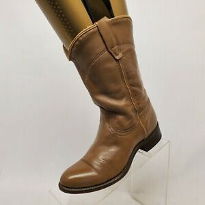 Acme-Taupe-Leather-Roper-Cowboy-Western-Boots-Youth-Size-3-5-B-Style-1135