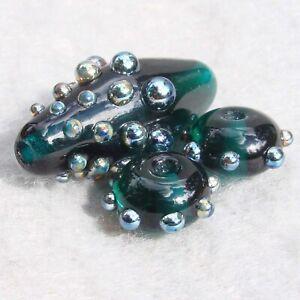NIGHTLIFE-Set-3-Handmade-Art-Glass-Beads-Flaming-Fools-Lampwork-Art-Glass-SRA