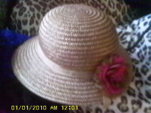 paraphernalia taupe FLORAL ACCENT HAT STRAW WITH B